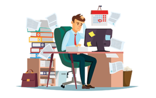 Animation of Stressed Man at Cluttered Desk