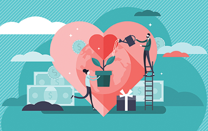 Animated Woman With Heart Plant As Man on Ladder Waters It