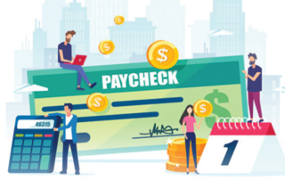 Animated Paycheck with Cartoon People Working Around it