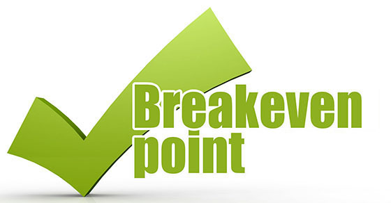Break-even point word with green checkmark