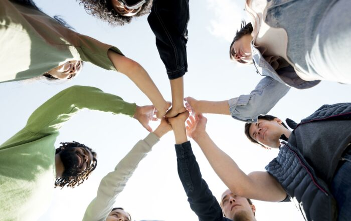 diversity-people-holding-hands-bottom-view
