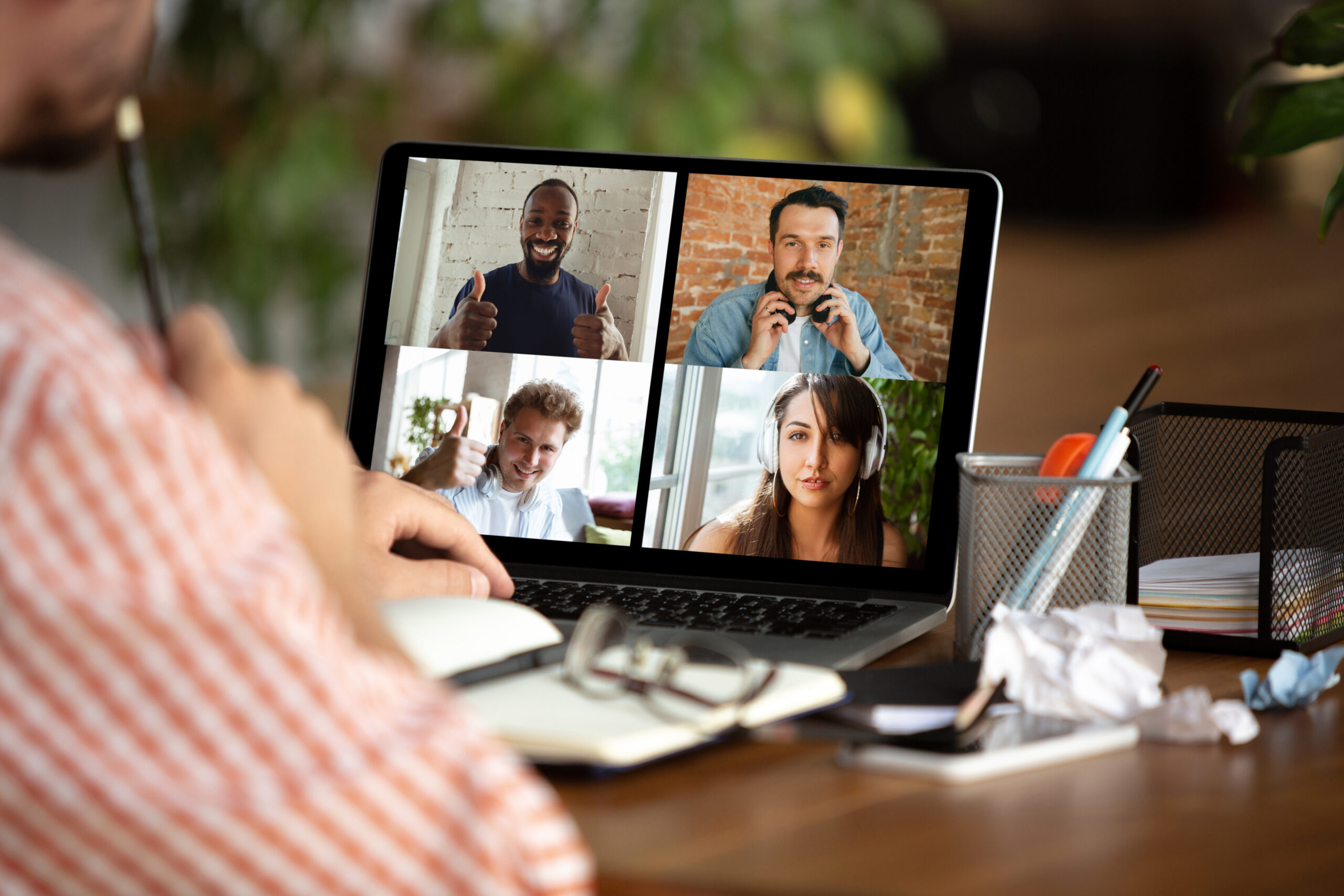 Remote man working from home on video call